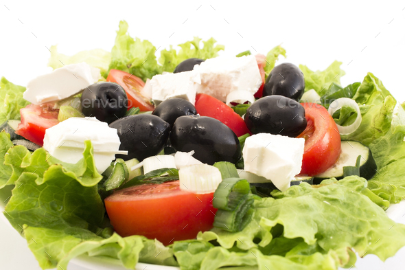 Fresh Delicious Salad with Olives - Stock Photo - Images