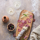 Italian salami on wooden board with cheese and olives - PhotoDune Item for Sale