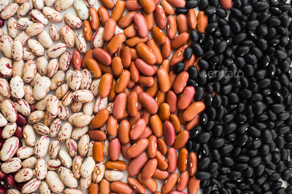 Different varieties of bean seeds. Beans background. - Stock Photo - Images