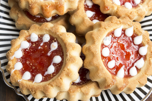Tea Biscuits with Jam on a Plate - Stock Photo - Images