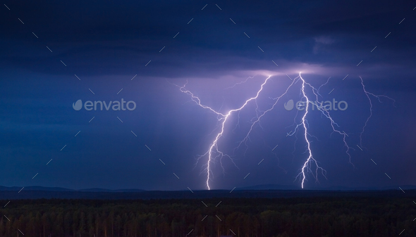 Lightning Storm at Night - Stock Photo - Images