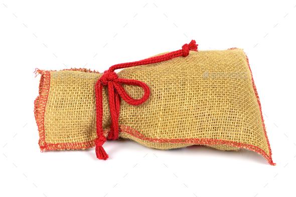 Textile sack isolated on white background - Stock Photo - Images
