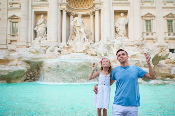 Happy family enjoy their italian vacation holiday in Europe - Stock Photo - Images