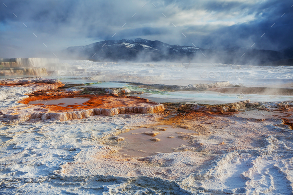 Mammoth Hot Springs - Stock Photo - Images