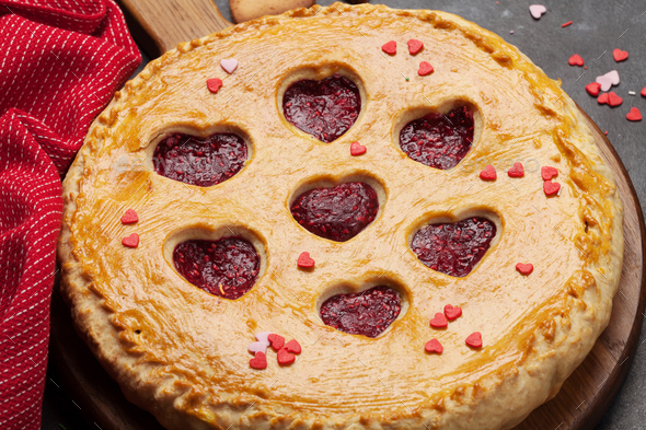 Raspberry cake for Valentine's Day - Stock Photo - Images