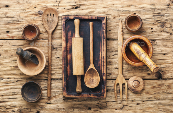 Set of wooden cooking utensils - Stock Photo - Images