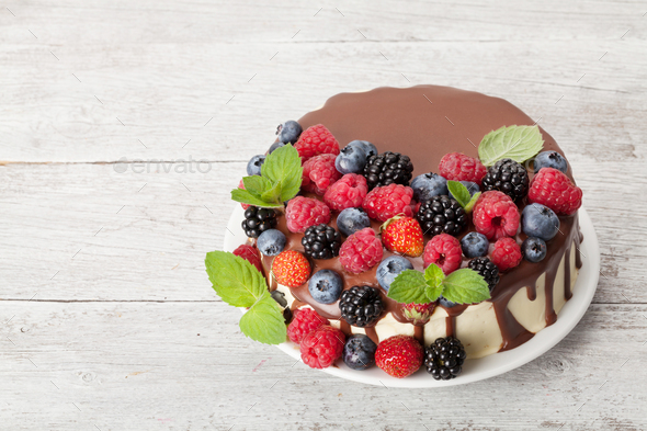 Cheesecake with berries and chocolate - Stock Photo - Images