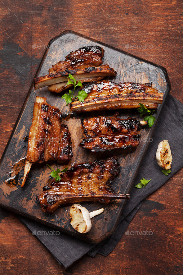 Barbecue beef ribs with bbq sauce sliced - Stock Photo - Images