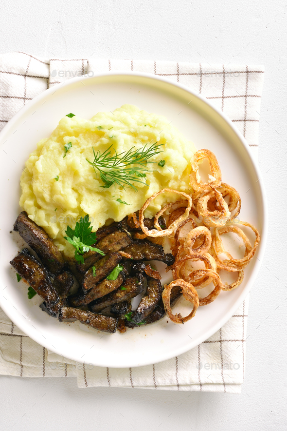Beef liver with mashed potatoes and onion - Stock Photo - Images