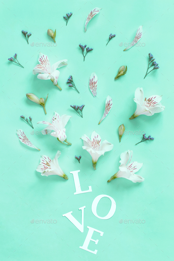 Flowers and word LOVE on a light green background - Stock Photo - Images