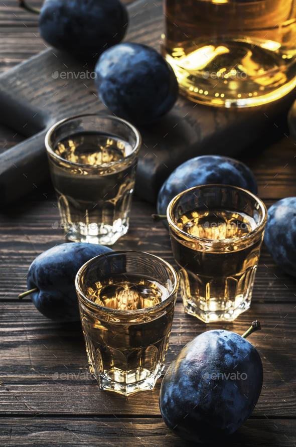 Slivovica - plum brandy or plum vodka - Stock Photo - Images