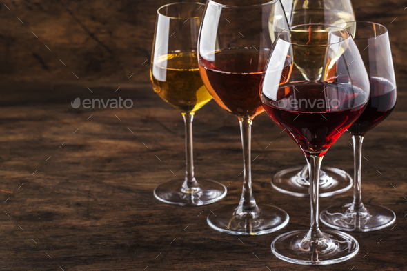 Wine set. Red, white and rose wine in assortment i - Stock Photo - Images