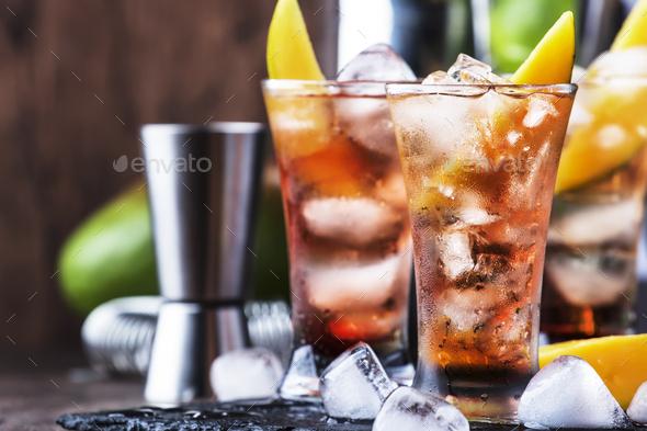 Alcoholic cocktail with mango - Stock Photo - Images