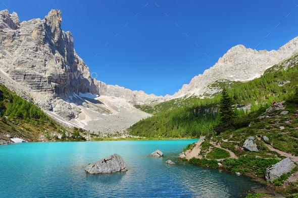 Turquoise Sorapis Lake with Dolomite Mountains, Italy, Europe - Stock Photo - Images