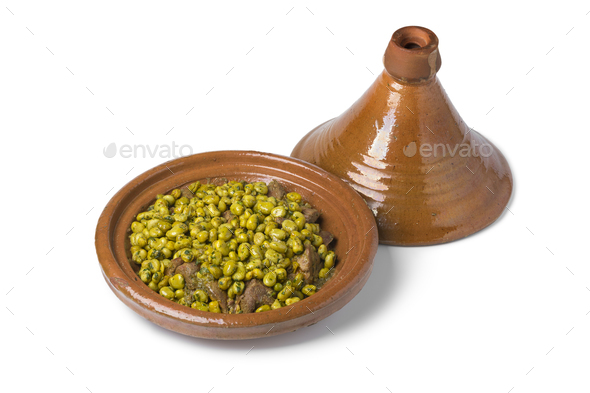 Moroccan meal with beef and broad beans - Stock Photo - Images