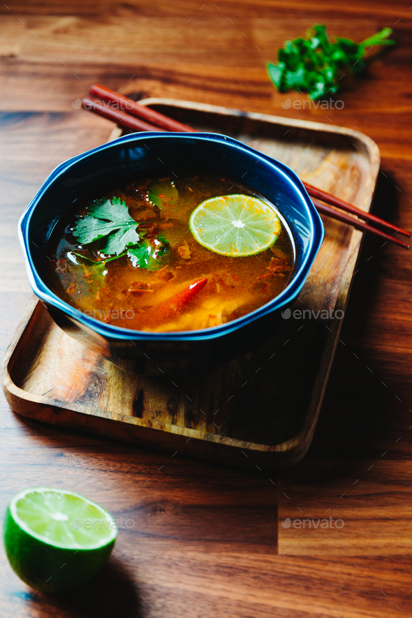 Thai vegetarian Tom Yum soup with mushrooms - Stock Photo - Images