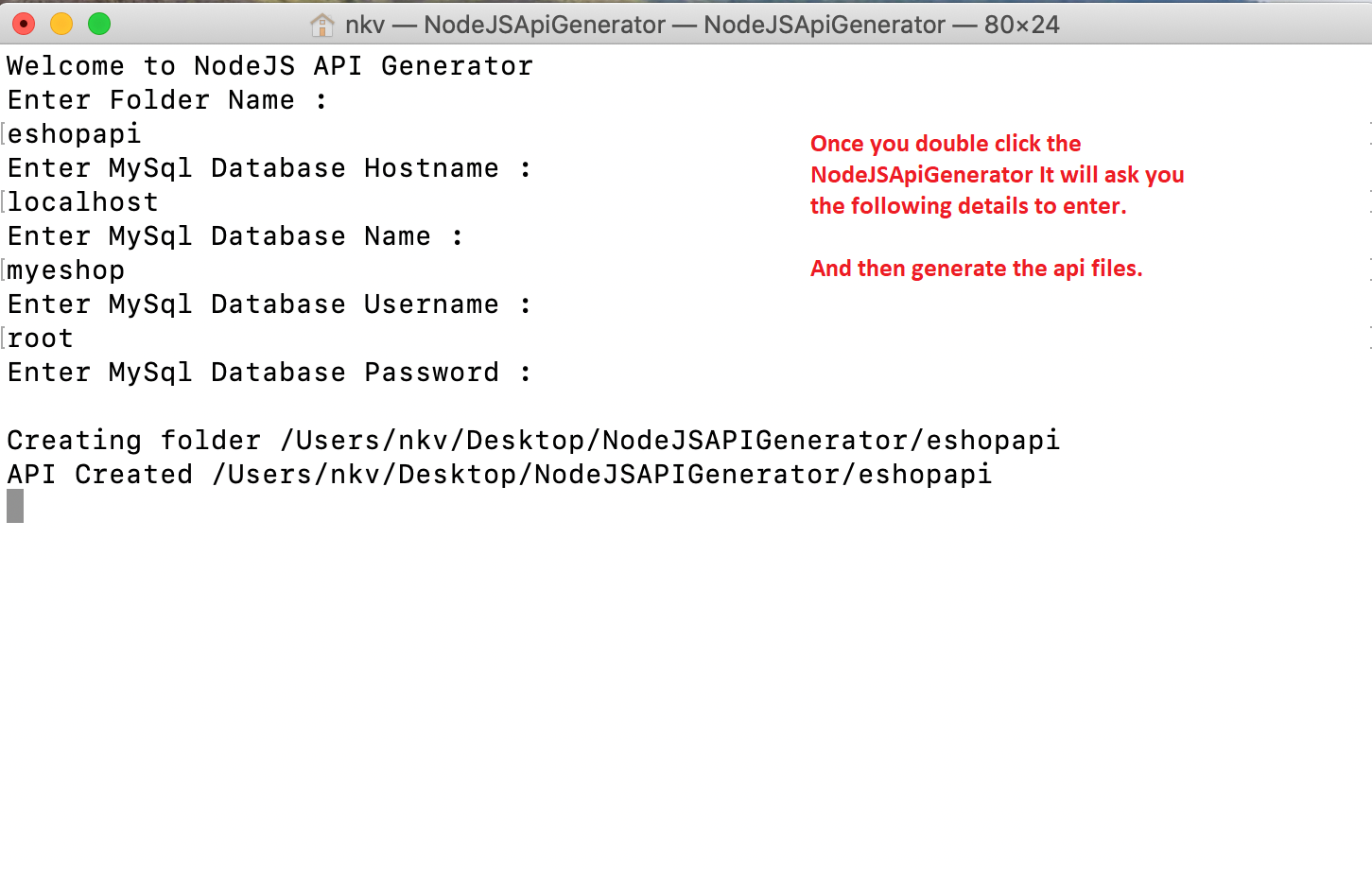Automatic NodeJS API Generator