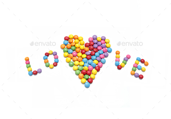 Word ''Love'' and abstract heart from bright colorful candy - Stock Photo - Images