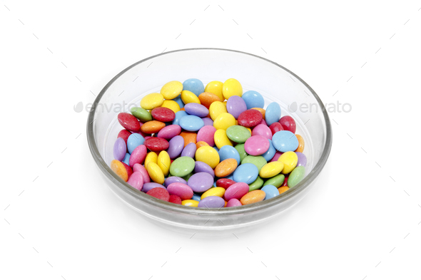 Bright colorful candy in glass bowl - Stock Photo - Images