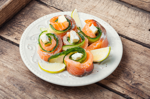 Smoked salmon roll with cheese - Stock Photo - Images