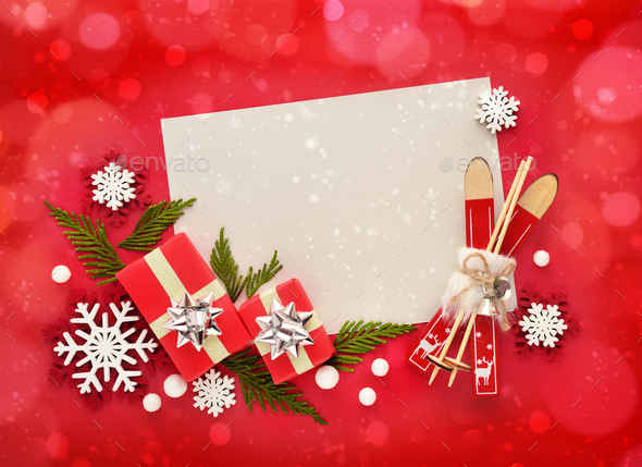 Christmas or New Year greeting card. Flat lay, top view, copy space - Stock Photo - Images