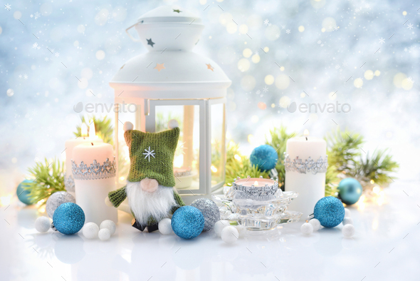 Christmas composition with lantern, candles and festive decorations. - Stock Photo - Images