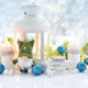 Christmas composition with lantern, candles and festive decorations. - PhotoDune Item for Sale