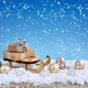 Christmas composition with sleigh, gifts and festive decorations оn the snow - PhotoDune Item for Sale