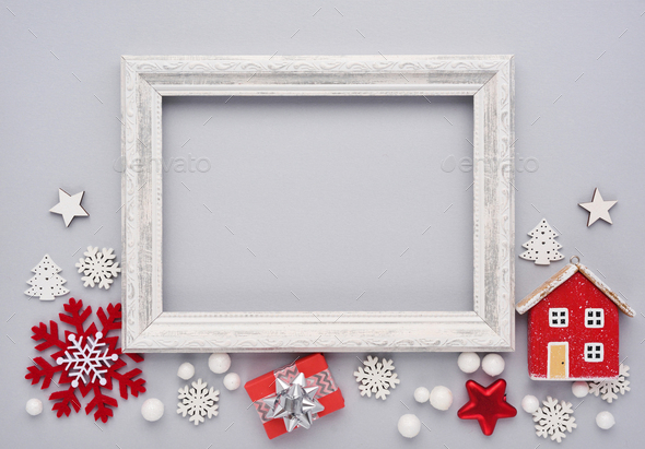 Christmas composition. Photo frame, christmas decorations on gray background - Stock Photo - Images