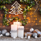 Christmas composition with candles and festive decorations on a wooden background - PhotoDune Item for Sale