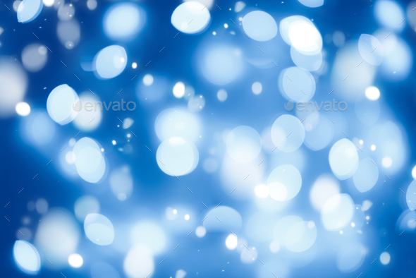 Blue blurred abstract background lights, beautiful Christmas. - Stock Photo - Images