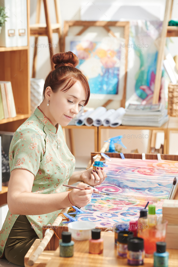 Painting on silk - Stock Photo - Images