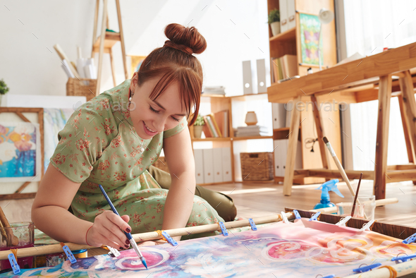 Painting on textile - Stock Photo - Images
