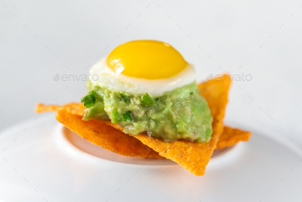 Guacamole and  quail egg appetizer - Stock Photo - Images