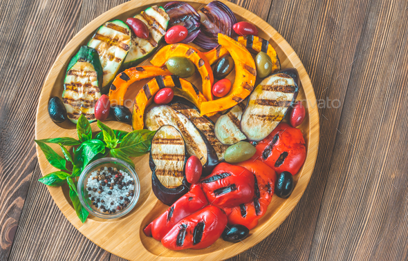 Grilled vegetables on the wooden tray - Stock Photo - Images