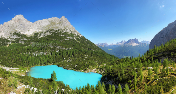 Turquoise Sorapis Lake with Dolomite Mountains, Italy, Europe - Stock Photo - Images