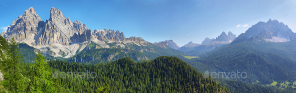View from Lake Sorapis Trail, Dolomites, Italy - Stock Photo - Images