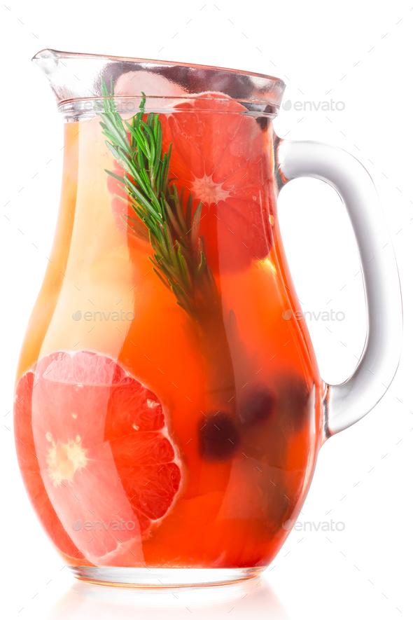 Grapefruit rosemary lemonade jug, paths - Stock Photo - Images