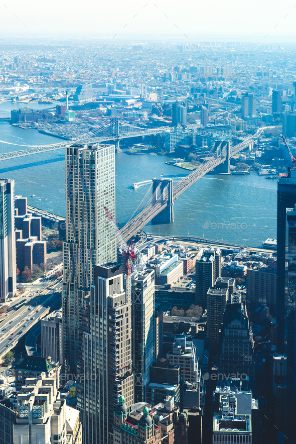 Amazing panorama view on New York City skyline and Brooklyn Bridge - Stock Photo - Images