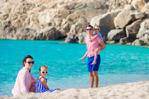 Happy family on vacation in Europe - Stock Photo - Images