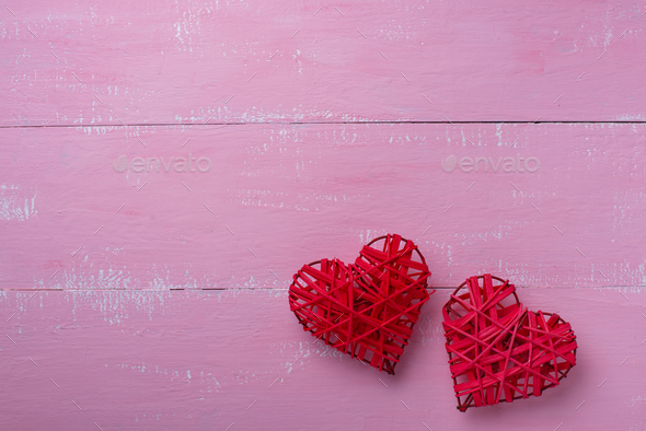 Valentines Day background on pink - Stock Photo - Images
