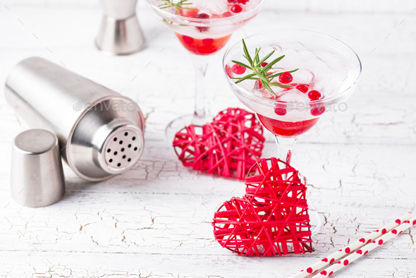Cranberry margarita cocktail. Valentines day drink - Stock Photo - Images