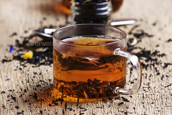 Dry Ceylon black tea with cornflower - Stock Photo - Images