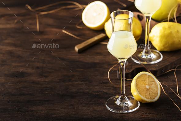 Limoncello, sweet Italian lemon liqueur - Stock Photo - Images