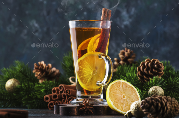 Christmas or New Year hot winter drink - Stock Photo - Images