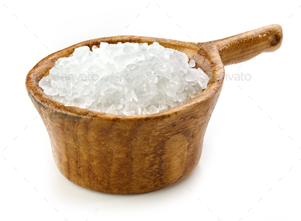 sea salt in wooden bowl - Stock Photo - Images