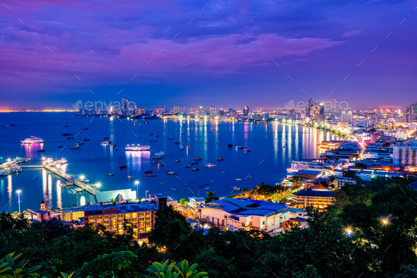 Pattaya City at night scene landmark in Thailand - Stock Photo - Images