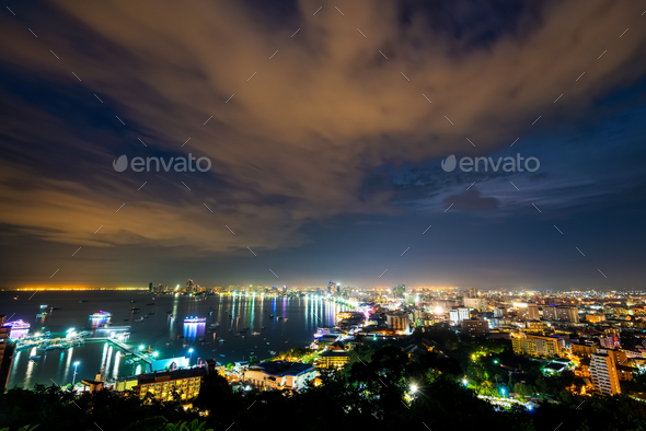 Pattaya City at night scene landmark in Thailand - Stock Photo - Images