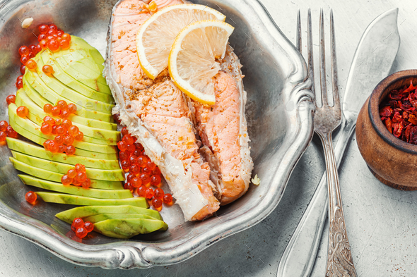 Boiled salmon steak - Stock Photo - Images