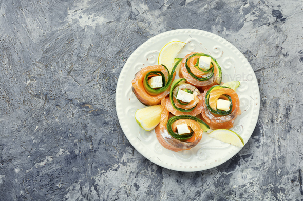 Rolls of salmon with cream cheese - Stock Photo - Images